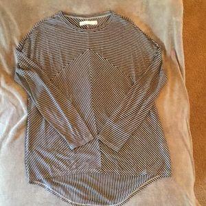 Black and Tan Striped Hi-Lo Tunic/Blouse